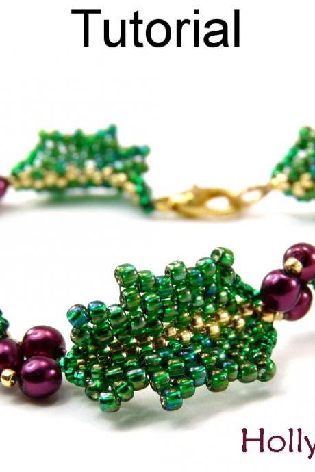 Beading Tutorial Pattern Christmas Bracelet - Peyote Stitch - Simple Bead Patterns - Holly Bracelet #9990