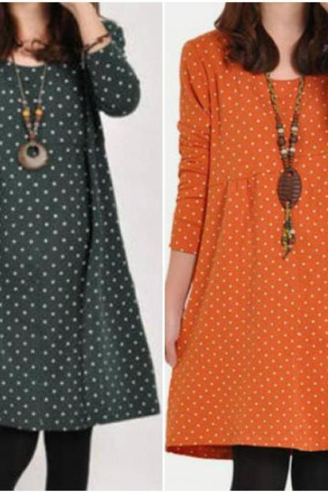 Polka Dots Design Long Sleeve Round Neck Loose Dress In Green, Orange And Black