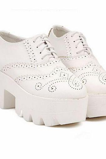 White Lace up Platform Shoes