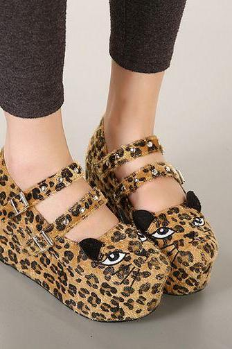 Cute Cat Design Leopard Print Platform Shoes