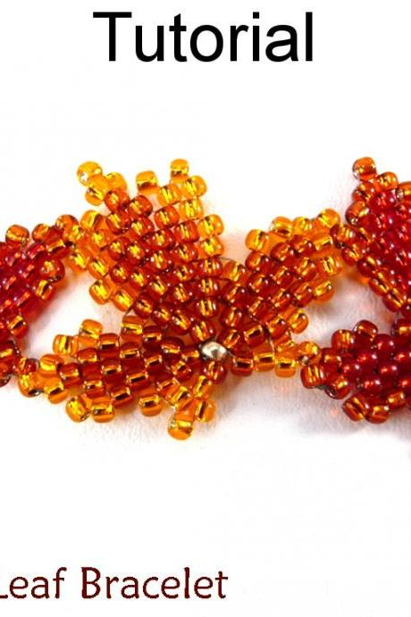 Beading Tutorial Pattern Bracelet - Diagonal Peyote Stitch - Simple Bead Patterns - Autumn Leaf Bracelet #10008