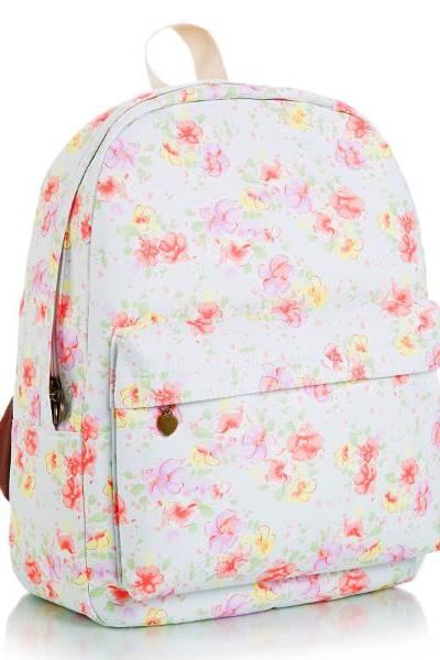 Floral Printed Blue Canvas Backpack