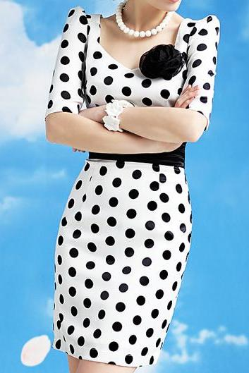 Sweetheart Neckline Vintage Design Polka Dot Dress With Bow