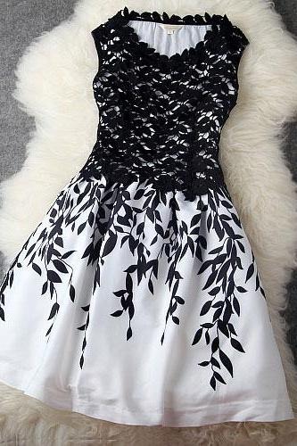New Elegant Leaves Stitching Lace Embroidered Party Dress &Dress