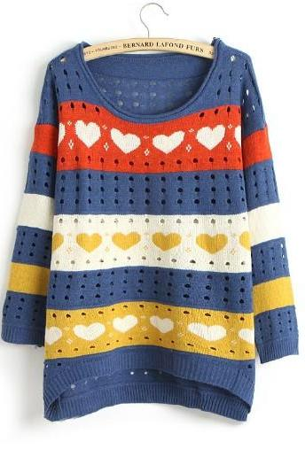 Cute Love Style Hollow Loose Women Knitting Sweater - Dark Blue
