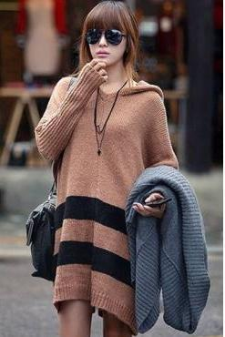 Fashion Color Matching Hooded Collar Long Hooded Sweater For Woman - Khaki