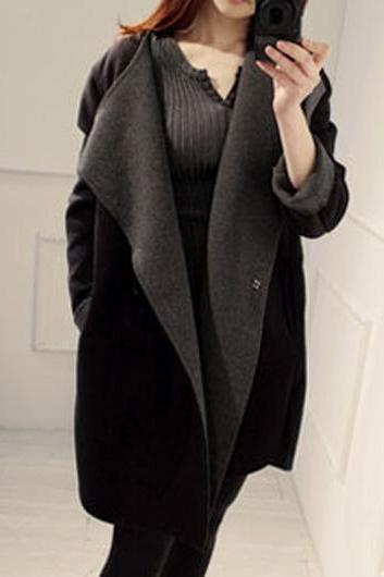 High Quality And Comfortable Solid Long Sleeve Coat For Lady - Black