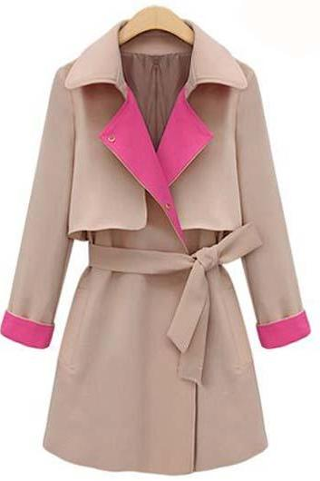 High Quality Turndown Collar Trench Coat For Lady - Khaki