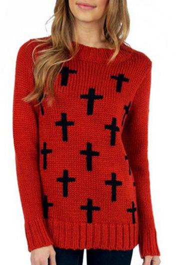 Vogue Long Sleeve Round Neck Knitting Wool Sweater - Red
