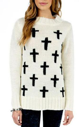Vogue Long Sleeve Round Neck Knitting Wool Sweater - White