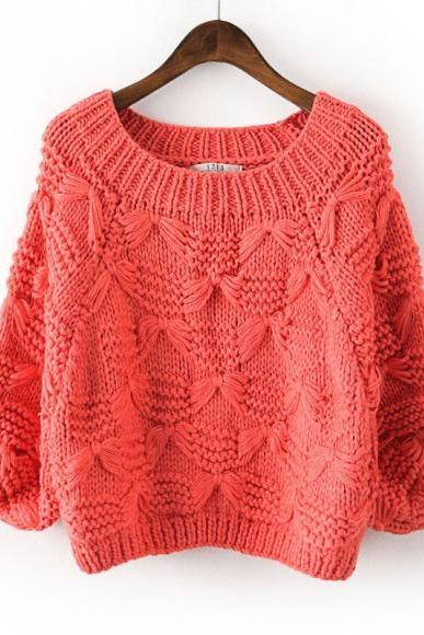 Crew Neck Dolman Sleeve Women'S Sweater