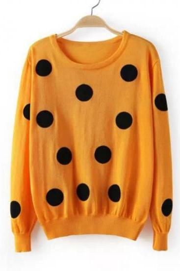 Cute Polka Dots Print Long Sleeves Pullover Round Neck Knitting Sweater - Yellow