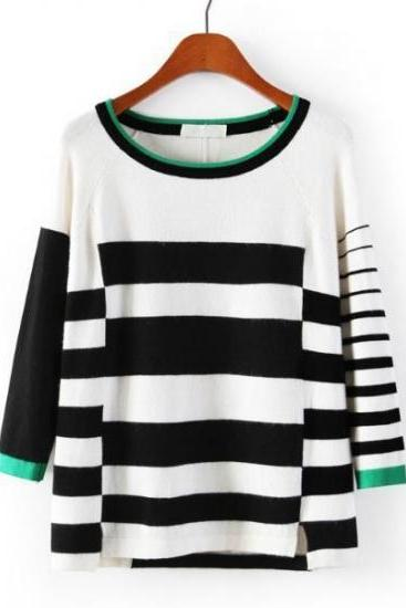Fashion Color Block Round Neck Knitting Striped Sweater