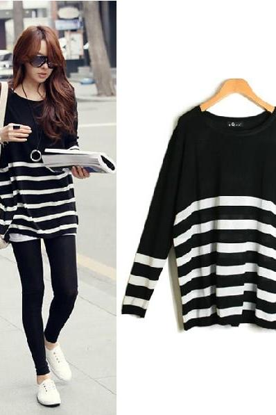 New Style O Neck Long Sleeve Stripe Acrylic Sweater