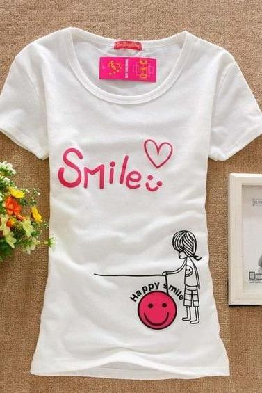Happy smile print love cotton girl top