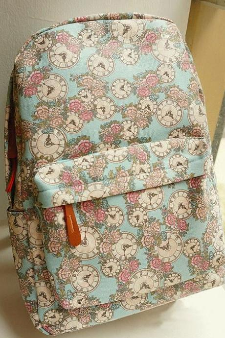 Fresh Floral College Style Printed Backpack