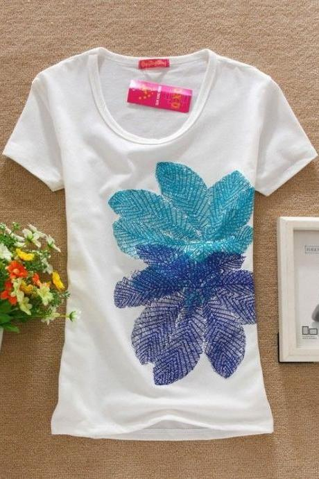 Fall leaves print cute girl tee