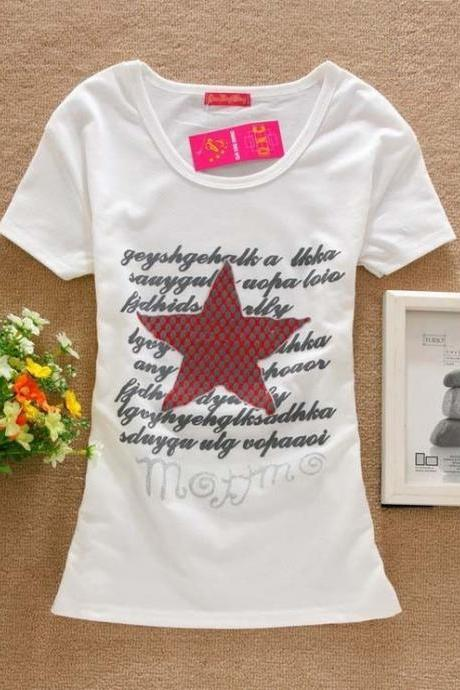 Red star letters print cotton girl tee