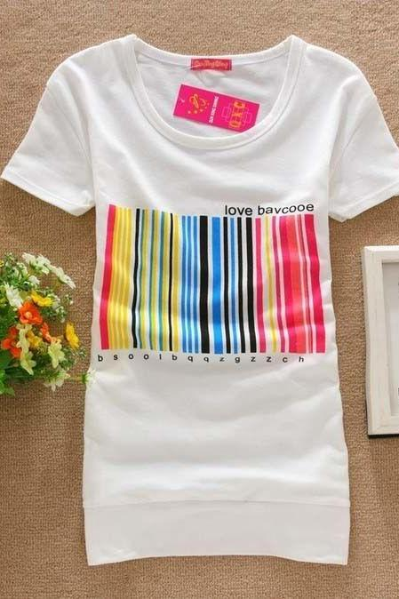Bar code colorful love girl top