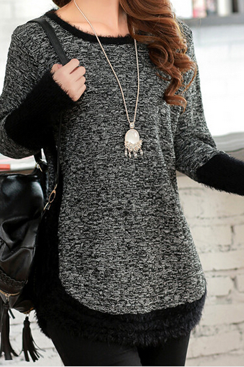 Loose Stitching Round Neck Knit Sweater