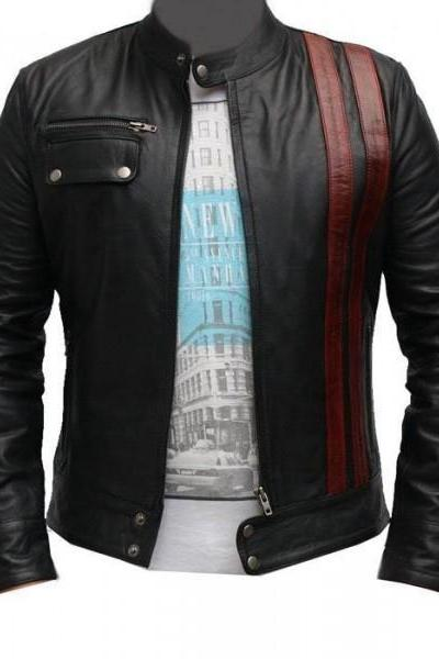 MEN BLACK LEATHER JACKET, MENS BIKER JACKET, MEN CASUAL LEATHER JACKETS