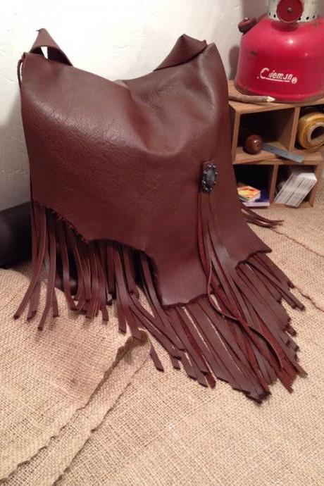 Chocolate Brown Leather Fringed Messenger