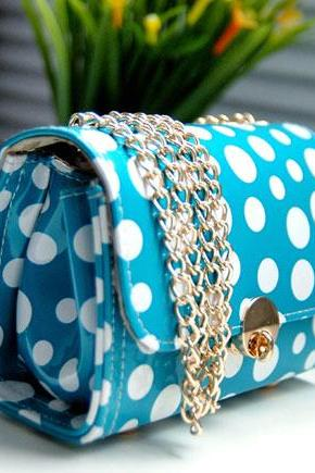 Fashion Shoulder Bag&Messenger Bag-Blue Polka Dot