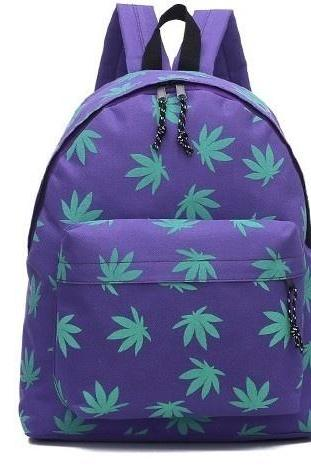 Leaf Weed Schoolbag Backbag
