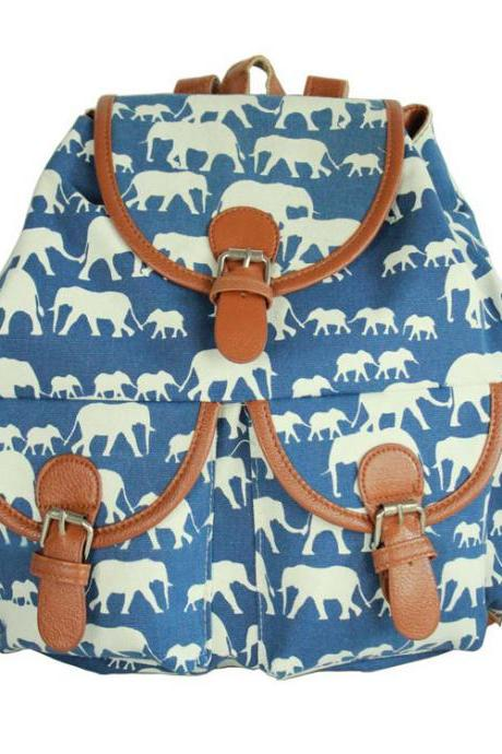 Folk Elephant Hishimonoides Printed Animal Backpack