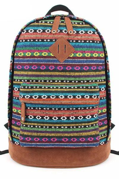 Multicolour Stripes And Little Round Shape Print Canvas School Bag Travel Backpack