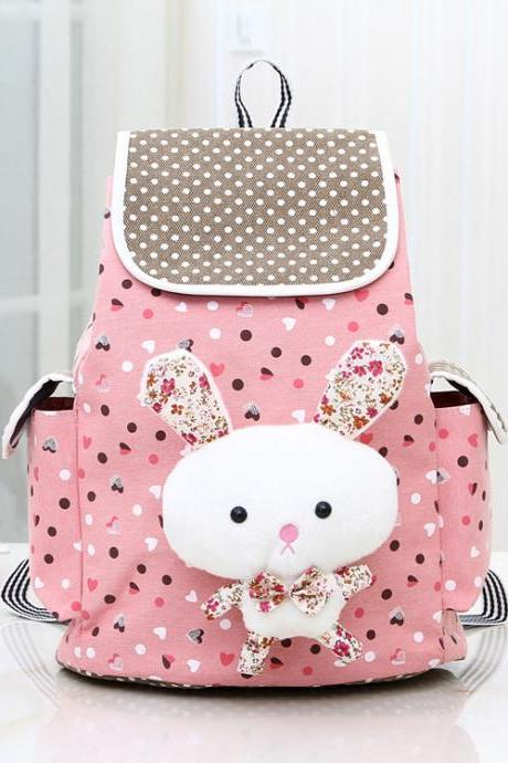 Nice Pink Bunny Rabbit Dot Canvas Backpack