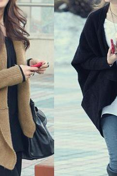 Loose bat sleeve knit cardigan sweater coat #DF102025HK