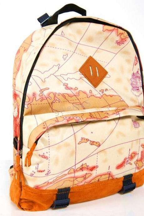 World Map Print Canvas Girl Backpack
