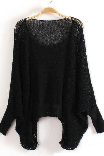 High Quality Loose Pattern Sweaters with Batwing Sleeve - Black