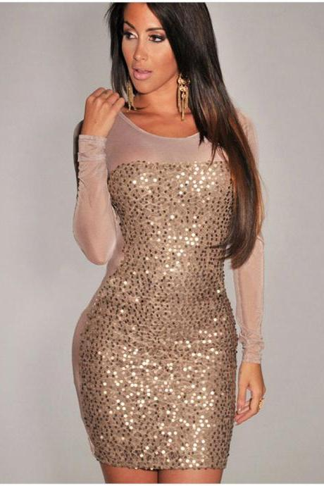 Fashion Sexy Long Sleeve Sequin Black Dress