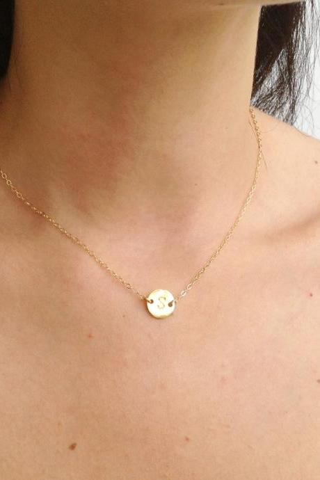 Initial necklace, initial jewelry, personalized necklace, Gold initial necklace, monogram necklace, friendship, 14k gold filled -537