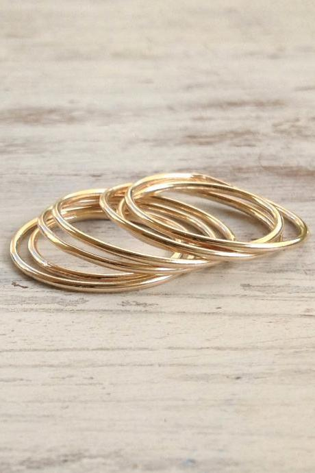 knuckle ring, stacking rings, thin ring, gold knuckle ring, simple ring, smooth ring- R6