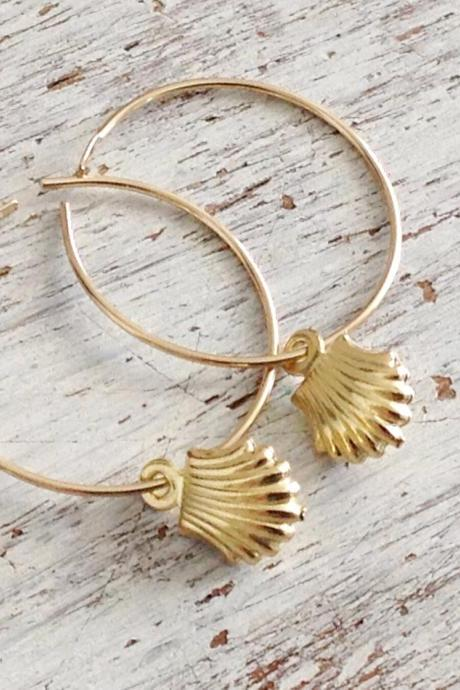 Gold earrings, gold filled earrings, hoop earrings, shell earrings, gold filled hoop, simple gold earrings- 20051