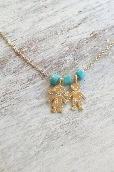 Gold necklace, children necklace, dainty gold necklace, mothers necklace, gift for mother, every day necklace, mom jewelry -591