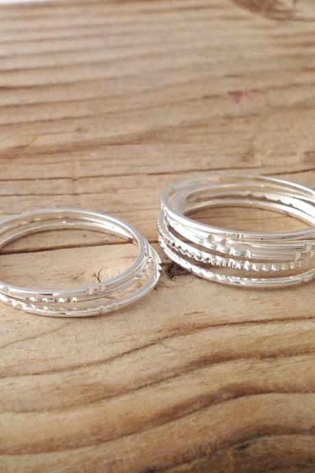 5 Gold rings, Stacking ring, silver rings, stacking gold rings, knuckle rings, thin ring, hammered ring, tiny ring 8881