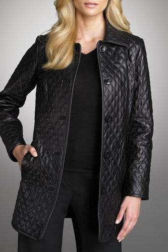 WOMEN BLACK COLOR QUILTED LEATHER COAT, WOMEN'S LONG LEATHER JACKET FOR WOMEN