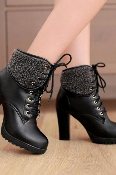 Chunky High Heel Lace Up Ankle Black Winter Boots