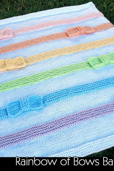 Rainbow of Bow Baby Blanket Knitting Pattern