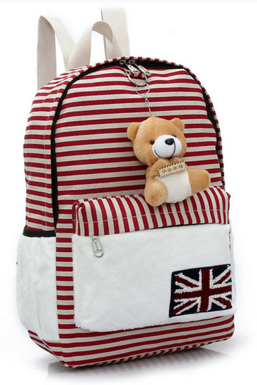 Cute Bear Doll UK Flag Striped Canvas Backpack