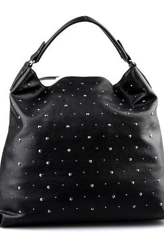 Black Leather Hobo Tote Bag with Rivets Detailing