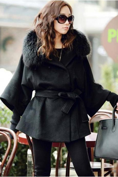 Fur Collar Black Button Fly Coat For Woman - sizes available in S thru L
