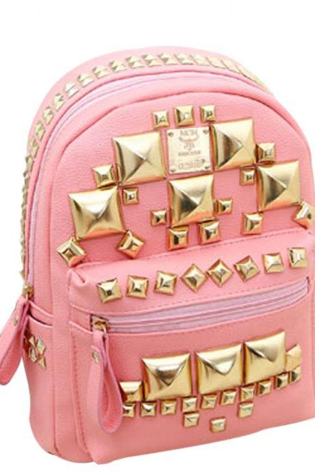Fashion Square Rivets Backpack School Bag