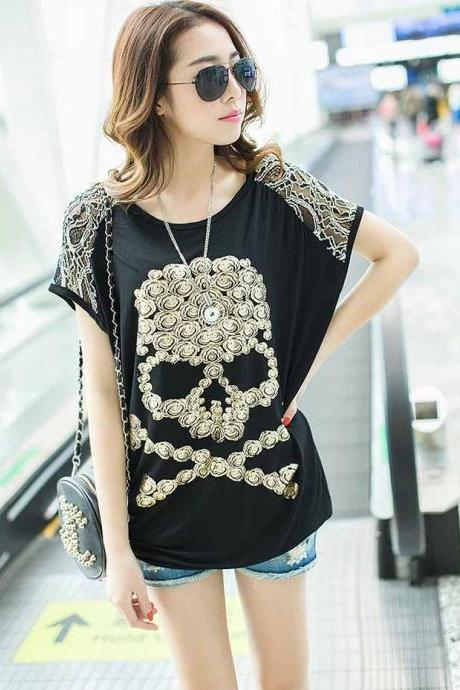 Skull Print Lace Shoulders Loose Black T-Shirt