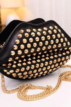 Gold Studded Sealed Lips Chain Bag In Black