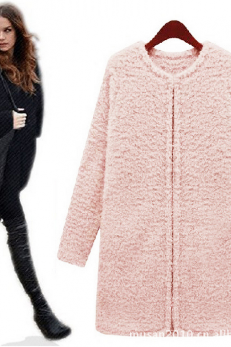 The 2014 European fashion in the long section of warm Plush coat thicken large size women coat